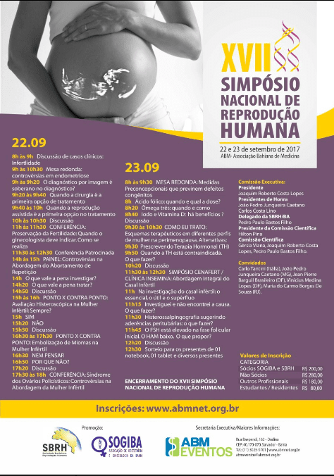 Participação no Simpósio Nacional para discutir sobre Abortamento de Repetição, um dos temas mais complexos em Reprodução Assistida.